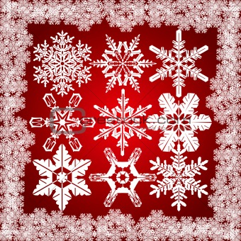 9 Detailed Snowflakes Set