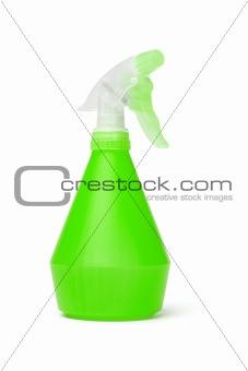 Green plastic spray bottle