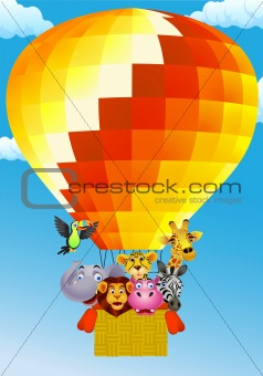 Animal cartoon on balloon