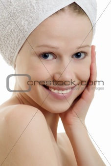 beautiful  girl with towel on head