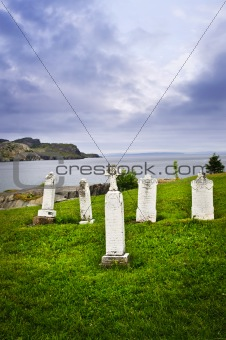 Tombstones near Atlantic coast in Newfoundland