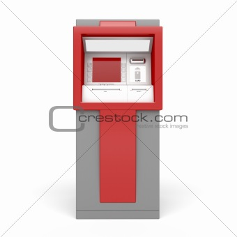 ATM on white background