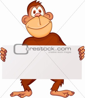 Ape with blank sign