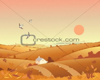 country cottage in autumn