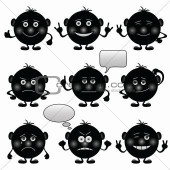 Smilies round, set, black