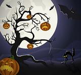 Tree with pumpkin-heads and black cat on the graveyard, under Halloweens moonlight