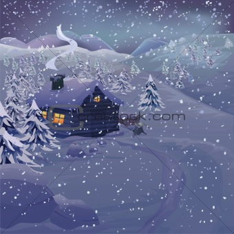 Vector Christmas night landscape