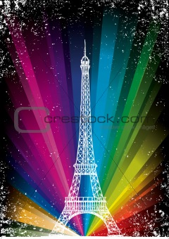 vector card with eiffel tower
