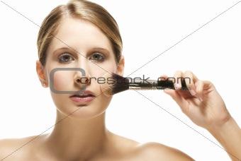 beautiful woman put on makeup