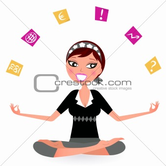 Stressed business Woman juggling with many Notes isolated on whi