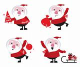 Cute cartoon Santa Claus set isolated on white