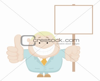 Smiling businessman holding blank sign