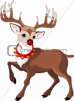 Beautiful cartoon reindeer Rudolf