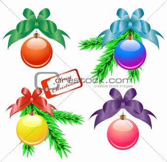 Christmas balls with color bows