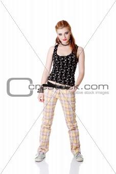 Standing teen girl.