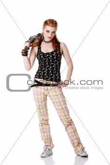Teen punk girl holding fiddle.