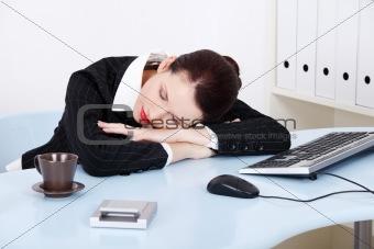 Sleeping businesswoman.