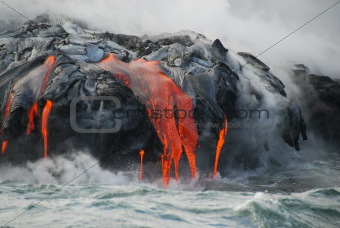 Multiple Lava Flows, Ocean, Steam, close up.
