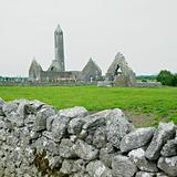 ruins of Kilmacduagh Monastery, County Galway, Ireland