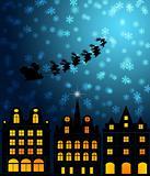 Santa Sleigh Reindeer Flying Over Victorian Houses
