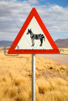 Danger Zebras Road Sign