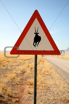 Danger Springboks Road Sign