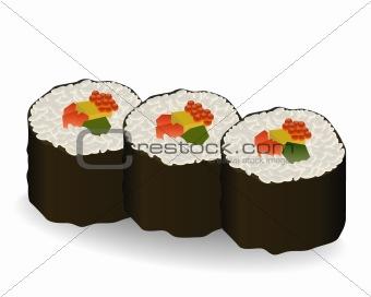 three rolls sushi