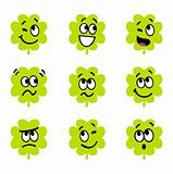Cartoon four leaf clovers with facial expression isolate on whit