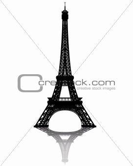 black silhouette of the Eiffel Tower