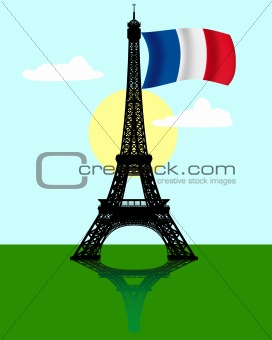 Eiffel tower with the flag of France