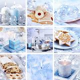 Christmas collage in white