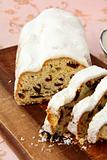 Traditional homemade stollen with dried fruits