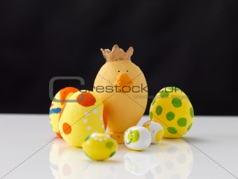 Handmade easter eggs against black background