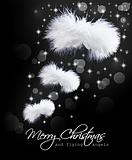 Christmas card with fluffy angel wings