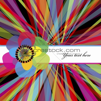 Abstract striped background with flowers and place for your text