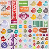 Sale stickers, rubber stamps and label collection