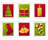colorful christmas post stamps