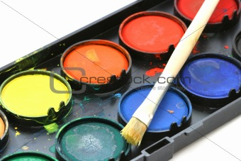 Close up view of water-color paint box