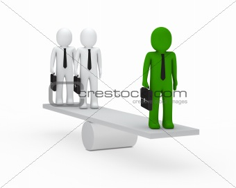 business men balance on seesaw