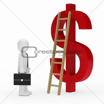 business man ladder dollar red