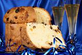 Christmas composition with panettone and spumante