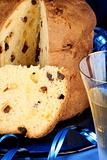 Italian Christmas composition with panettone and spumante