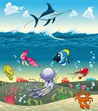 Under the sea with fish and other animals.