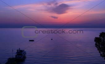 Moment before sunrise over the Gulf of Antalya.