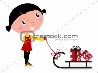 Cute winter child, sledge and christmas presents isolated on whi