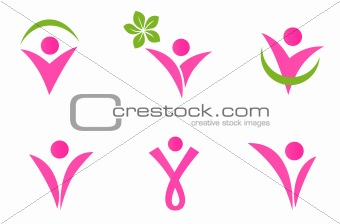 Abstract fit woman icons set isolated on white - pink and green