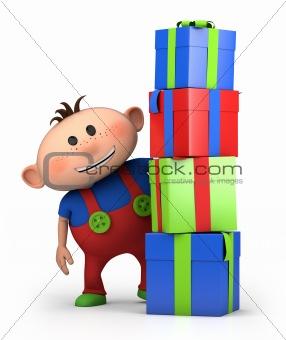 boy behind pile of presents