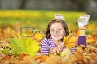 beautiful girl at autumn outdoors