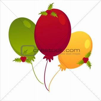 christmas colored balloons with berries