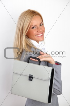 business woman with case